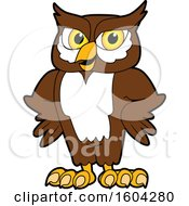 Clipart Of A Brown And White Owl School Mascot Character With Hands On His Hips Royalty Free Vector Illustration by Toons4Biz