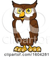 Clipart Of A Brown And White Owl School Mascot Character Royalty Free Vector Illustration
