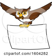 Clipart Of A Brown And White Owl School Mascot Character Flying With A Banner Royalty Free Vector Illustration by Toons4Biz