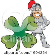 Clipart Of A Knight School Mascot Character With A St Patricks Day Clover Royalty Free Vector Illustration