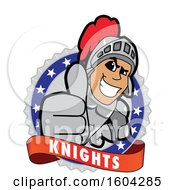 Clipart Of A Knight School Mascot Character Holding A Thumb Up On A Badge Royalty Free Vector Illustration by Toons4Biz