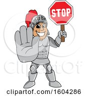 Clipart Of A Knight School Mascot Character Holding A Stop Sign Royalty Free Vector Illustration