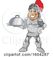 Clipart Of A Knight School Mascot Character Holding A Platter Royalty Free Vector Illustration by Toons4Biz