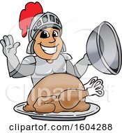 Clipart Of A Knight School Mascot Character Serving A Thanksgiving Turkey Royalty Free Vector Illustration by Toons4Biz