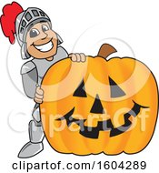 Clipart Of A Knight School Mascot Character With A Halloween Pumpkin Royalty Free Vector Illustration