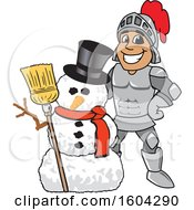 Clipart Of A Knight School Mascot Character With A Christmas Snowman Royalty Free Vector Illustration