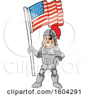Clipart Of A Knight School Mascot Character Holding An American Flag Royalty Free Vector Illustration