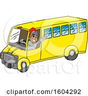 Clipart Of A Knight School Mascot Character Driving A School Bus Royalty Free Vector Illustration