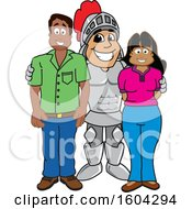 Clipart Of A Knight School Mascot Character With Parents Royalty Free Vector Illustration by Toons4Biz