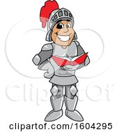 Knight School Mascot Character Reading a Book