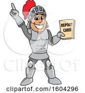 Clipart Of A Knight School Mascot Character Holding A Report Card Royalty Free Vector Illustration