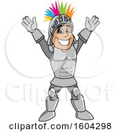 Clipart Of A Knight School Mascot Character With A Mohawk Royalty Free Vector Illustration by Toons4Biz
