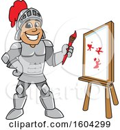 Clipart Of A Knight School Mascot Character Painting A Canvas Royalty Free Vector Illustration by Toons4Biz