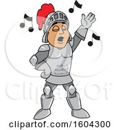 Clipart Of A Knight School Mascot Character Singing Royalty Free Vector Illustration