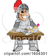 Clipart Of A Knight School Mascot Character Writing At A Desk Royalty Free Vector Illustration