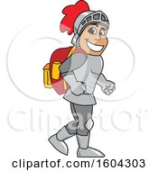 Clipart Of A Knight School Mascot Character Wearing A Backpack Royalty Free Vector Illustration