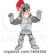 Clipart Of A Knight School Mascot Character Flexing His Muscles Royalty Free Vector Illustration by Toons4Biz