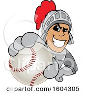 Clipart Of A Knight School Mascot Character Grabbing A Baseball Royalty Free Vector Illustration by Toons4Biz