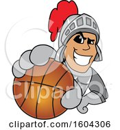Clipart Of A Knight School Mascot Character Grabbing A Basketball Royalty Free Vector Illustration by Toons4Biz
