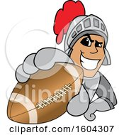 Clipart Of A Knight School Mascot Character Grabbing A Football Royalty Free Vector Illustration by Toons4Biz