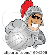 Clipart Of A Knight School Mascot Character Grabbing A Volleyball Royalty Free Vector Illustration by Toons4Biz