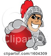 Clipart Of A Knight School Mascot Character Grabbing A Cricket Ball Royalty Free Vector Illustration by Toons4Biz