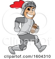 Clipart Of A Knight School Mascot Character Playing Football Royalty Free Vector Illustration by Toons4Biz