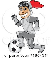 Clipart Of A Knight School Mascot Character Playing Soccer Royalty Free Vector Illustration by Toons4Biz