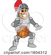 Clipart Of A Knight School Mascot Character Playing Basketball Royalty Free Vector Illustration by Toons4Biz