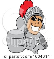 Clipart Of A Knight School Mascot Character Holding A Thumb Up Royalty Free Vector Illustration by Toons4Biz