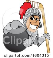 Knight School Mascot Character Holding a Hockey Puck and Stick
