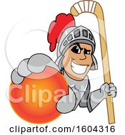Clipart Of A Knight School Mascot Character Holding A Hockey Ball And Stick Royalty Free Vector Illustration