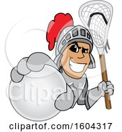 Knight School Mascot Character Holding a Lacrosse Ball and Stick