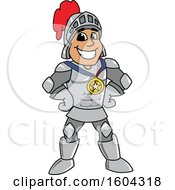 Clipart Of A Knight School Mascot Character Wearing A Sports Medal Royalty Free Vector Illustration