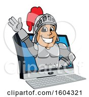 Clipart Of A Knight School Mascot Character Emerging From A Computer Screen Royalty Free Vector Illustration