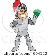 Clipart Of A Knight School Mascot Character Holding Cash Money Royalty Free Vector Illustration