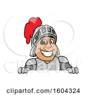 Clipart Of A Knight School Mascot Character Over A Sign Royalty Free Vector Illustration by Toons4Biz