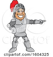 Clipart Of A Knight School Mascot Character Pointing Royalty Free Vector Illustration