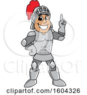 Clipart Of A Knight School Mascot Character Holding Up A Finger Royalty Free Vector Illustration by Toons4Biz