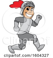 Clipart Of A Knight School Mascot Character Running Royalty Free Vector Illustration