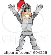Clipart Of A Knight School Mascot Character Welcoming Or Cheering Royalty Free Vector Illustration