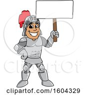 Clipart Of A Knight School Mascot Character Holding A Blank Sign Royalty Free Vector Illustration