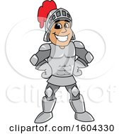 Clipart Of A Knight School Mascot Character With Hands On His Hips Royalty Free Vector Illustration