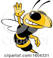 Clipart Of A Hornet Or Yellow Jacket School Mascot Character Waving Royalty Free Vector Illustration