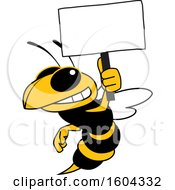 Clipart Of A Hornet Or Yellow Jacket School Mascot Character Holding A Blank Sign Royalty Free Vector Illustration