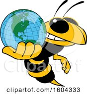 Hornet Or Yellow Jacket School Mascot Character Holding A Globe
