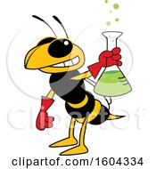 Hornet Or Yellow Jacket School Mascot Character Holding A Science Flask