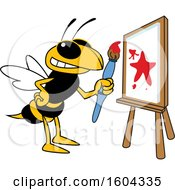 Clipart Of A Hornet Or Yellow Jacket School Mascot Character Painting A Canvas Royalty Free Vector Illustration by Toons4Biz