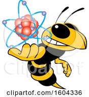Clipart Of A Hornet Or Yellow Jacket School Mascot Character Holding An Atom Royalty Free Vector Illustration by Toons4Biz