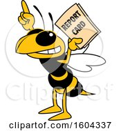 Hornet Or Yellow Jacket School Mascot Character Holding A Report Card